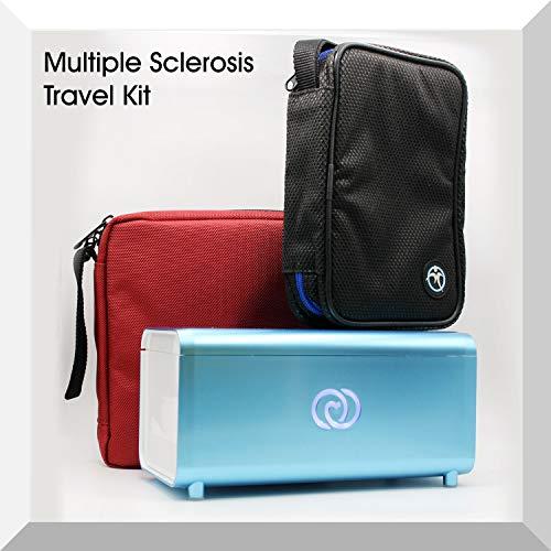 De Lifeina-set voor reizen met multiple sclerose. Vervoer uw medicijnen in vliegtuigen, treinen en auto's. Inclusief de LifeinaBox draagbare koelkast, de EasyBag en LifeinaBag24.