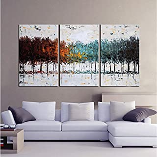 Gardenia Art - Colorful Forest Abstract Art 100% Hand Painted Contemporary Oil Paintings,Modern Artwork Wall Art for Room Decoration,3 Pcs/Set,16x24 inch,Unframed