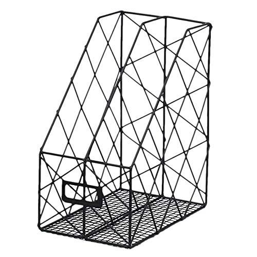 Eenvoudige metalen vijl opslagrek kantoorbenodigdheden display rek desktop grid boek magazijn opbergdoos plankenblok anti-skid-frame zwart