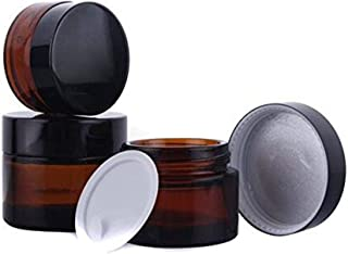 30ml 1 oz Amber Glass Jars Empty Refillable Make Up Cosmetic Storage Pot Travel Containers Bottles With White Inner Liners and Black Lids Prefect for Cosmetics and Face Cream Lip Balm Lotion 3PCS