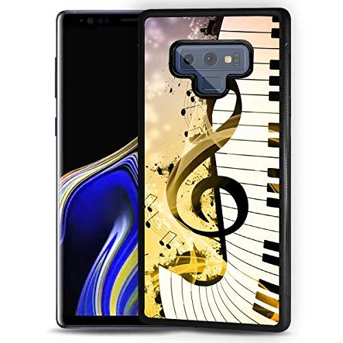 HOT12221 Schutzhülle für Samsung Note 9, Galaxy Note 9, strapazierfähig, weiche Rückseite, Handyabdeckung, Motiv: Notenzeichen, Tastatur 12221