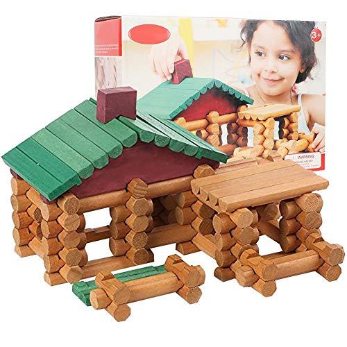 Bloques de construcción de madera polimórficos, juego de ladrillos de construcción de cabaña de troncos de juguete educativo para niños creativos para niños pequeños