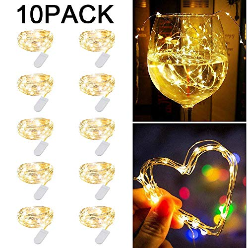 Redmoo Cadena de Luces con Pilas, 10Pcs 2M 20 LED Guirnaldas Luces con Pilas para Fiesta Botellas de Boda de Navidad Luz Decoración de Bricolaje, Blanco Cálido