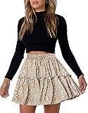 Arjungo Women's Floral Print High Waist with Drawstring Ruffle Flared Boho A Line Skater Mini Skirt Beige
