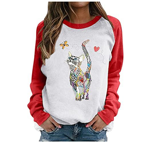 Julhold Sweatershirt para mujer patrón especial impresión contraste color manga larga sólido casual blusa suéter abrigo, Rojo-f5, M