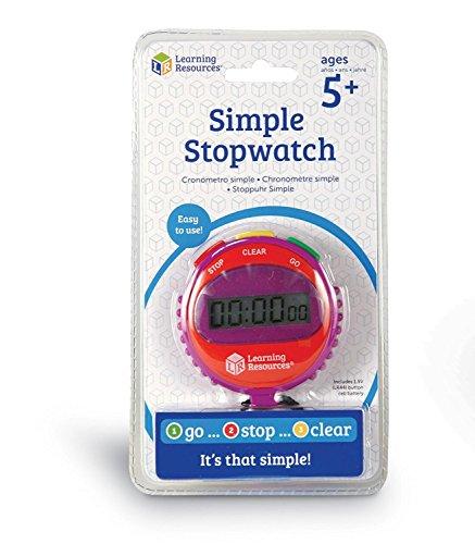 Chronomètre simple à 3 boutons de Learning Resources, soutient les découvertes scientifiques, exercices de maths chronométrés, suivi du temps écoulé, à partir de 5 ans