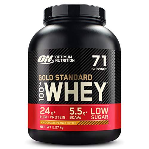Optimum Nutrition ON Gold Standard Whey Protein Pulver, Eiweißpulver zum Muskelaufbau, natürlich enthaltene BCAA und Glutamin, Chocolate Peanut Butter, 71 Portionen, 2.27kg, Verpackung kann Variieren