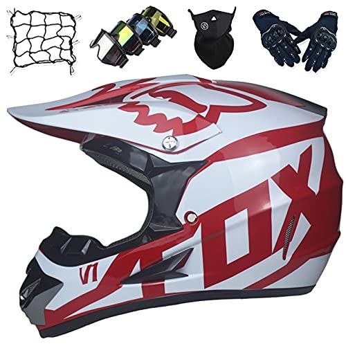 Casco Motocross Niños, Conjuntos de Cascos de Cara Completa para Motocicleta Enduro ATV con Gafas/Máscara/Guantes/Red Elástica - Certificación DOT/ECE - con Diseño de Fox - Rojo