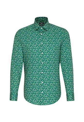 Seidensticker - Chemise Droite Verte Capsule Liberty London Fabrics Fleurs Bleues et Blanches - Vert - 43