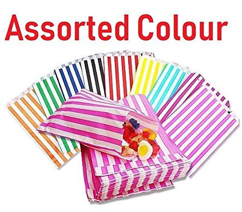 100–gestreift Candy Papier Staubbeutel für süßen Geschmack Buffet Hochzeit Kuchen Geschenk Shop (12,7x 17,8cm), sortiert, Qty: 100 bags