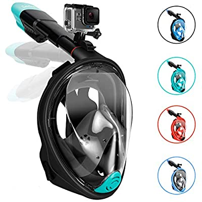 Gpeng Sunhoo Full Face Snorkel Mask, Foldable Snorkeling Mask with Detachable Camera Mount, 180° Panoramic View Diving Mask Dry Top Set Anti-Fog Anti-Leak for Adults and Kids
