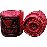 Bad Boy Boxing Hand Wraps 2.1m-Red Bandas para Guantes de Boxeo y Deportes de Contacto