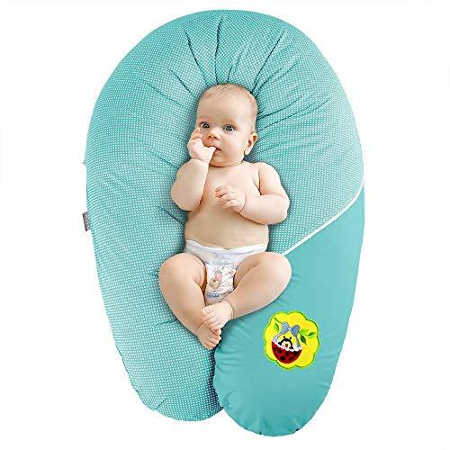 Sei Design Coussin d'allaitement et de Grossesse | Maternité Bebe Oreiller XXL 190 x 30| Remplissage EPS microbilles Hypoallergénique | Taie 100% Coton Amovible et Lavable