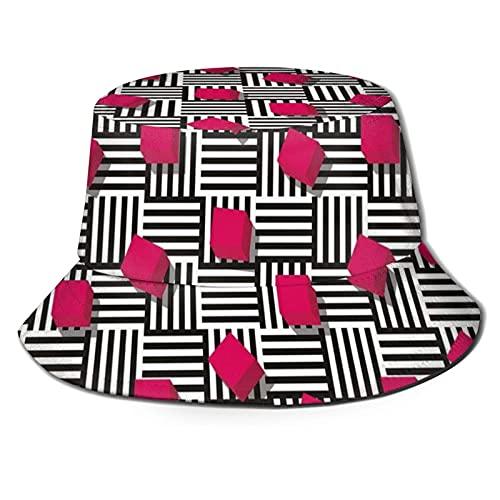 Sombrero de Cubo Sombrero para el Sol Protección UV Gorra de Pescador Sombreros Lavados de ala Ancha para Hombres Mujeres Gorra para Exteriores Senderismo Playa Canotaje Cubos Cuadrados Negro