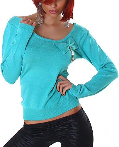 Jela London Pullover Sweatshirt Longsleeve großer Ausschnitt Dekolleté Schleife, Hell-Blau Türkis