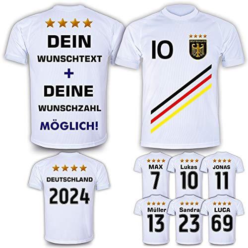 Deutschland Trikot mit GRATIS Wunschname Nummer Wappen Typ #D 2018 günstig im EM/WM Weiss - Geschenke für Kinder,Jungen,Baby. Fußball T-Shirt personalisiert