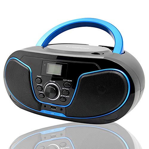 LONPOO Stereo CD Boombox Portable Bluetooth Digital Tuner FM Radio CD Player with USB Playback,Bluetooth-in,AUX Input and 3.5mm Earphone Output & Music Sound System