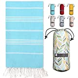 Turkish Towel with Beach/Travel Bag (39' x 71') - Pre-Washed - 100% Cotton Bath Towels - Effective, Absorbent and Quick Dry Beach Towel - Washer Safe Peshtemal Towel with No Shrinkage - Eco-Friendly