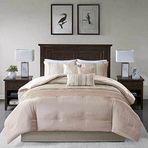 California King 7pc Salem Comforter Set Blush/Taupe