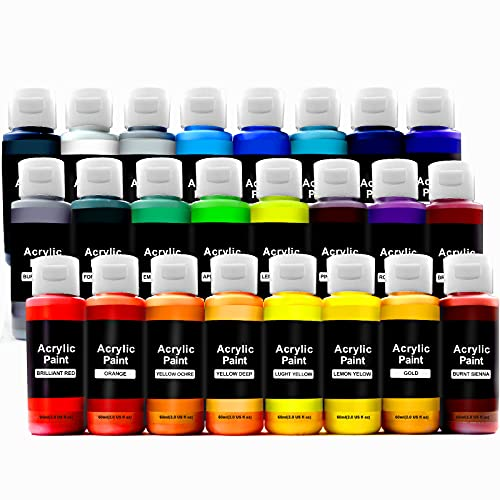 Magicdo Acrylfarben Set ungiftig Acrylic Paint 24 colorsx60 ml Acrylfarbe Bastelfarbe mit Palettefür Leinwand, steine bemalen, Holz, Keramik, Stoffmodell für Anfänger oder Profis