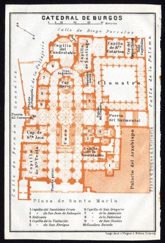 Antiguo ThePrintsCollector mapa de España de la Catedral de Burgos-Karl baedeker-1913