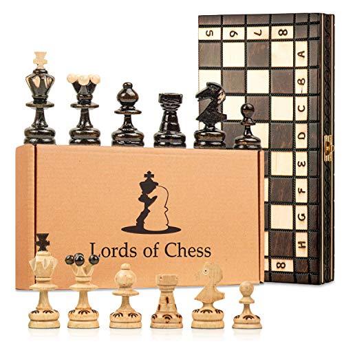 Amazinggirl Schachspiel Schach Schachbrett Holz hochwertig - Chess Board Set klappbar mit Schachfiguren groß für Kinder und Erwachsene 35 x 35 cm
