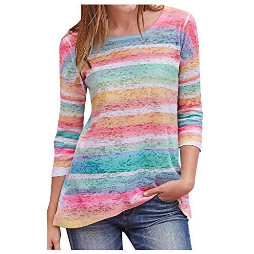 Women Casual Striped Printing Tops Shirts Long Sleeve Shirts O Neck Pullover Blouse Sweatshirt S-3XL (Medium, Pink)