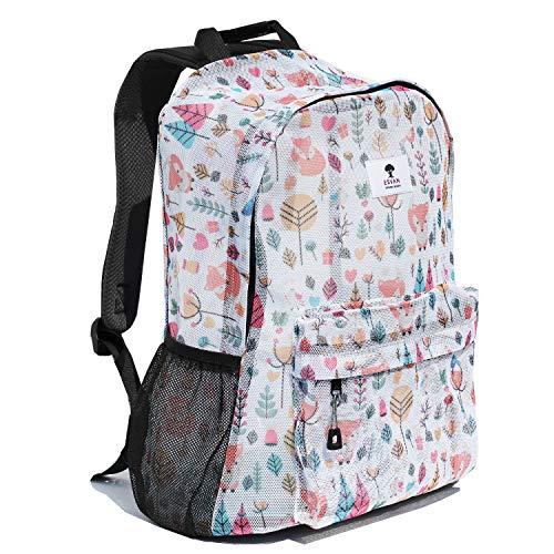 Original Print Mesh Backpack Semi-Transparent Sackpack See Through Beach Bag Daypack Multi-Purpose Women Men Unisex (Fox)