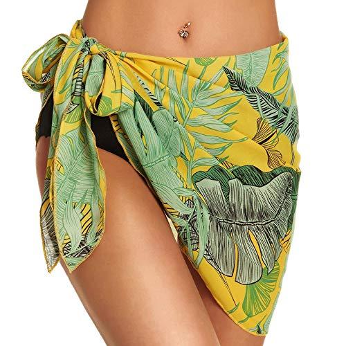 Falda corta de gasa para mujer, para verano, para playa, para la playa amarillo XL