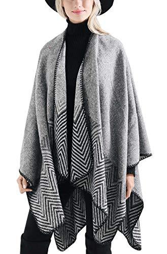 FEOYA Poncho para Mujeres Invierno Bufanda Chal Vintage Geométrico Delicado Elegante Cálido Grande Tamaño 147 * 135cm
