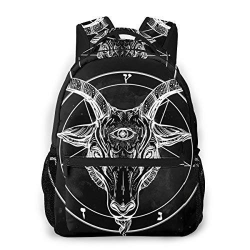 Unisex Backpack Pentagram with Demon Baphomet Satanic Goat Bookbag Lightweight Laptop Bag for School Travel Outdoor Camping