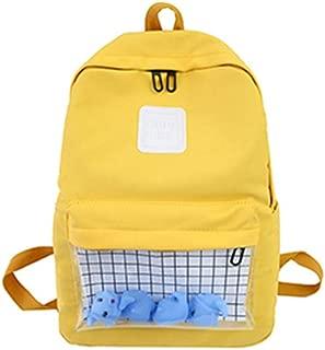 カジュアルクリア防水レディースバックパック原宿ナイロン旅行ランドセルかわいい小さなアヒル学生バックパック十代の女の子ブックバッグ