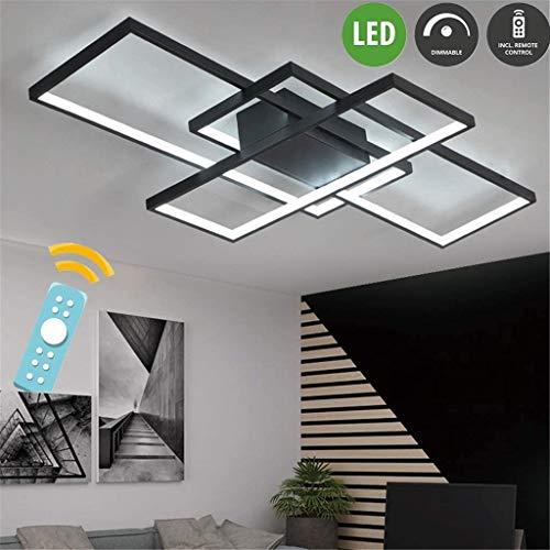 LED Deckenleuchte Wohnzimmer Lampen Dimmbar Deckenlampe Hängeleuchte Modern Eckig Designer Fernbedienung Leuchen Metall Acryl Schirm Decke Wohnzimmerlampe Esszimmerlampe Esstischlampe Badlampe
