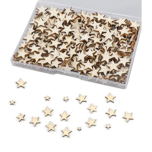 LUTER 500pcs Craft Wood Star Ornaments Unfinished Cutout Blank Wood Star Embellishments Slices for Christmas Wedding Party Decoration DIY Cards, 5 Mixed Sizes