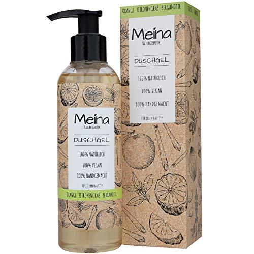 Meina Naturkosmetik - Duschgel mit Orange, Zitronengras und Bergamotte (1 x 220 ml) Vegan Bio Shower Gel - Natürliche Körperpflege