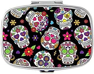 Day of the Dead Sugar Skull Rectangle pill box - 2 compartment Rectangle pill case
