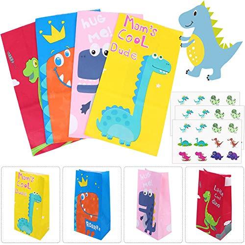 Bolsa de Dulces de Dinosaurio, 24pcs Bolsa de Regalo de Papel con Pegatina Dinosaurio, Papel Regalo Bolsas para Niños Suministros Fiesta de Cumpleaños, 4 Colores