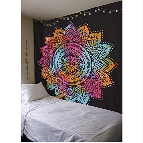 Djkaa rechthoekige mandala Indiaas tapijt gedrukt lotusbloem wandkleed sprei tafelkleed strandmat 200 x 150 cm.