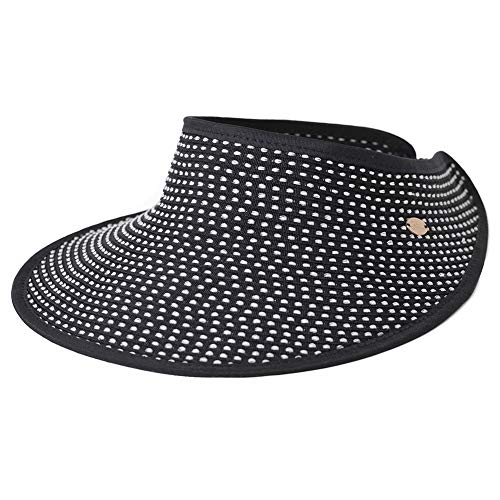 Comhats Summer Beach Open Top Sun Hat Visor for Women Elastic UV Protection Ponytail Fishing Packable Foldable Ladies Black