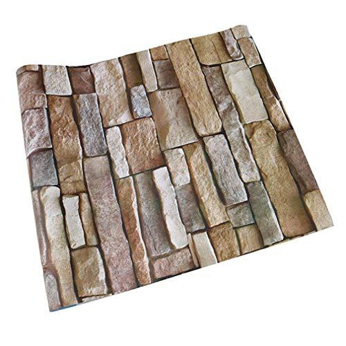 *Tapeten Folie Selbstklebend NHsunray schöne edle Tapete im Steinwand Backsteinmauer Design moderne 3D Optik für Wohnzimmer, Schlafzimmer oder Küche inkl,45*200cm (1, Felstabletten)*