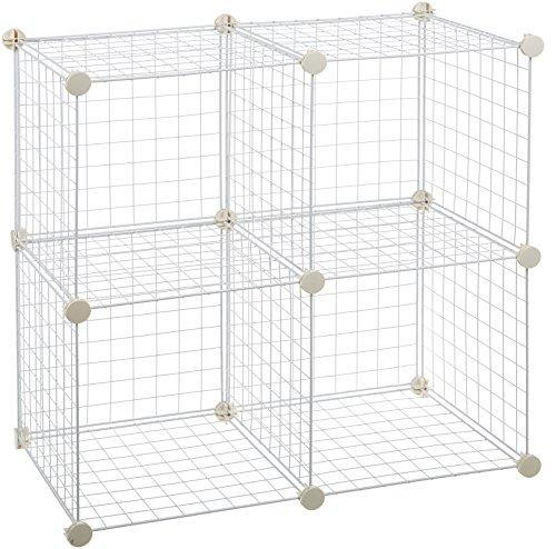 Amazon Basics - Estantes de almacenamiento, Cuatro cubos, de alambre - Blanco