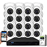 GW Security 16 Channel 4K NVR 5MP H.265 IP Surveillance Security Camera System with 16-Piece Super HD 1920P Weatherproof PoE Security Dome Cameras, AI Human Detection