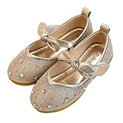 Gold Flower Girls's Tied Bow Ankle Strap Shoe