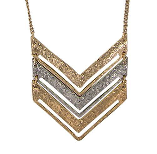 SPUNKYsoul Chevron Necklace (Gold Chain Mixed Medal)
