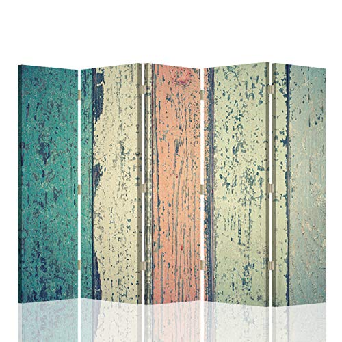 Feeby Foto Biombo Corcho Abstracción 5 Paneles Bilateral Vintage Retro Multi 180x175 cm