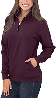 Women's Long Sleeves Collar Quarter 1/4 Zip Pullover Sweatshirts Casual Solid Hoodies with Pockets (S-2XL)