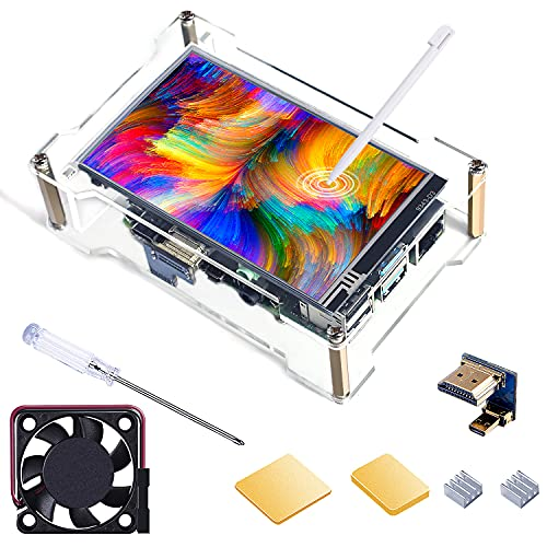 Smraza Raspberry Pi 4 Touchscreen with Case, Cooling Fan, 4 inch Touch Screen IPS LCD Display 800x480 HDMI Monitor for RPI 4B 2GB 4GB 8GB with Touch Pen, Heatsinks(Support Raspbian Kali Octopi Ubuntu)