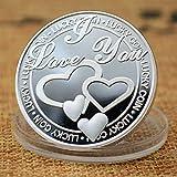 Yuanan Medalla conmemorativa chapado en oro plata 999 con texto en inglés 'Love You Lucky Metal Handicraft Monedas