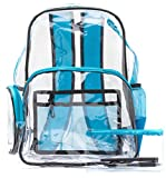 Heavy Duty Clear Backpack Blue, Quality Transparent, See-Through Bag, Large (Brilliant Blue)