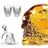 MEILINL Schnapsglas Totenkopf Set 2Er Shot Glas Skull Head Stamper Karaffe Im Totenkopfdesign Weinflasche Bei Halloween Weihnachten Party Und Geschenk (1000 ML)